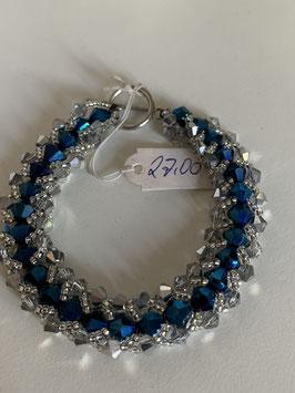 Gefädeltes Armband mit Kristallperlen in silber und royalblau