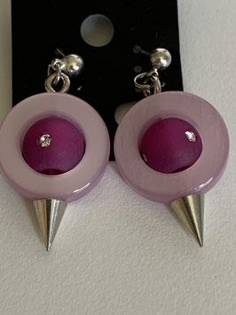 Ohrstecker aus auswechselbaren Polariselementen mit Swarovskisteinen in rosa und pink