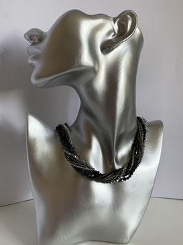 9strängige Kette in schwarz/silber
