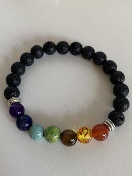 Armband unisex mit und Lava- und Schmucksteinen