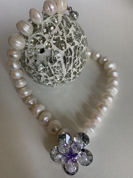 Große weiße Süßwasserperlen 12mm mit Kristallblume