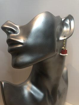 Goldfarbige Ohrringe mit buntem Anhänger Glocke