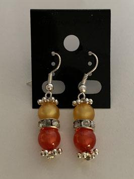 Ohrringe aus glänzenden Polarisperlen 6 mm in gelb und rot mit Straßzwischenteil