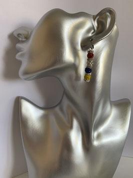 Ohrringe mit Straßtonperlen 6 mm in Fastenachtsfarben und Straßrondelle mit Brisurenverschluß aus Edelstahl
