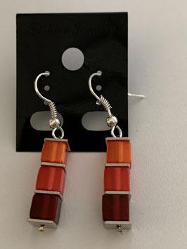 Ohrringe Polariswürfel 4 mm in Rottönen