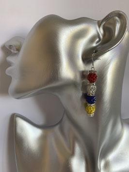 Ohrringe mit 8 mm Straßtonperlen in Fastenachtsfarben und Straßrondelle mit Fischhakenverschluß