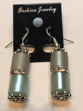 Ohrringe Polarisröhre 8 mm mit Straßzwischenteil in grau und mint