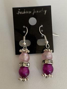 Ohrringe aus glänzenden Polarisperlen 6 mm in rosa und pink mit Straßzwischenteil