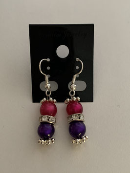 Ohrringe aus glänzenden Polarisperlen 6 mm in pink und lila mit Straßzwischenteil