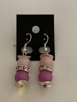 Ohrringe aus matten Polarisperlen 8 mm in rose und beere mit Straßzwischenteil