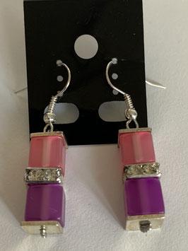 Ohrringe Polariswürfel glänzend 6 mm in rosa und pink mit Straßzwischenteil