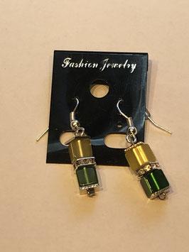 Ohrringe Polariswürfel 4 mm in gelb und grün mit Straßzwischenteil