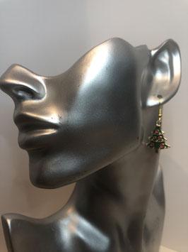 Goldfarbige Ohrringe mit buntem Anhänger Weihnachtsbaum
