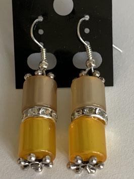 Ohrringe aus glänzenden Polarisröhren 8mm in Gelbtönen mit Straßzwischenteil