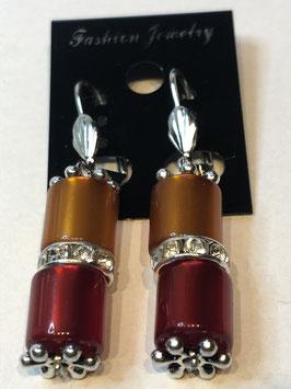 Ohrringe aus glänzenden Polarisröhren 8mm in orange und rot mit Straßzwischenteil