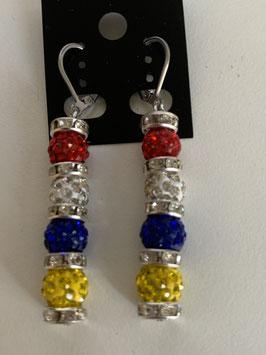 Ohrringe mit 8 mm Straßtonperlen in Fastenachtsfarben und Straßrondelle mit Brisurenversachluß aus Edelstahl