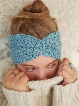 Stirnband Merinowolle Damen Strick Kopfband  Headband  Ohrenband aqua