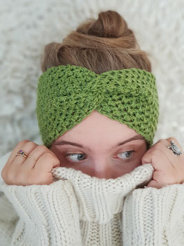 Stirnband Merinowolle Damen Strick Kopfband  Headband  Ohrenband grün