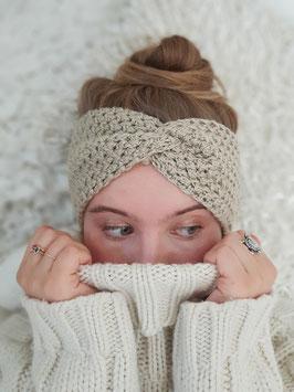 Stirnband Seide Merinowolle Strick Kopfband  Headband  Ohrenband ecru beige