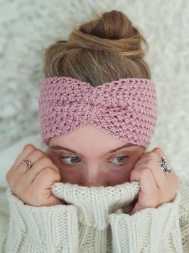 Stirnband Merinowolle Damen Strick Kopfband  Headband  Ohrenband Rosenholz