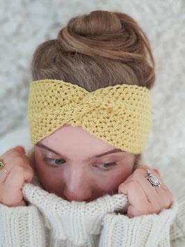 Stirnband Merinowolle Damen Strick Kopfband  Headband  Ohrenband maisgelb