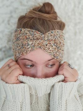 Stirnband Seide Leinen Cotton Damen Strick Kopfband  Headband  Ohrenband cappuccino melange