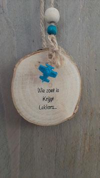 boomschijf met tekst lekkers blauw