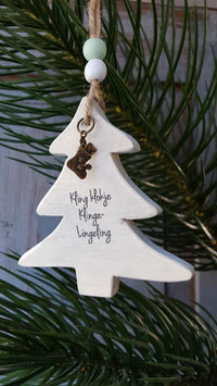 houten kerstboom kling klokje.