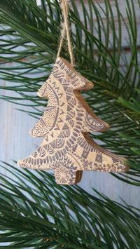 houten kerstboom print.