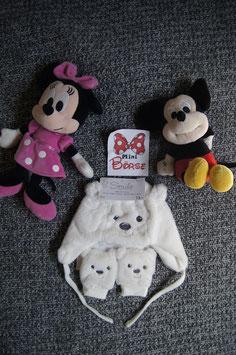 Set. Gr. 6-12 Monate, kuschlige Mütze und Handschuhe Eisbär (Neu)