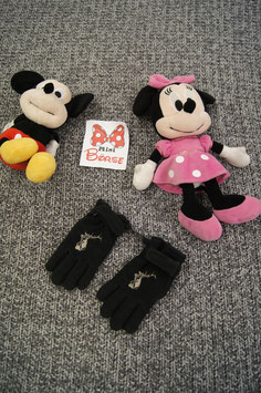 Handschuhe, schwarze Fleece Handschuhe mit Hirsch