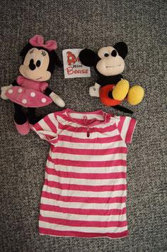 T-Shirt Gr. 86/92, weiss-rosa gestreiftes long Shirt, 1 Schulterdruckknopf