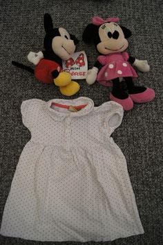 Kleid Gr. 86, weises Polo-Shirt Kleid mit rosa pünktchen