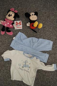 Set Gr. 80, weiss-blaues Pijama mit Esel