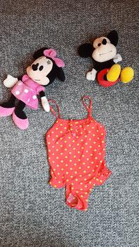Badekleid Gr. 128, Rotes Badekleid mit gelben Punkten