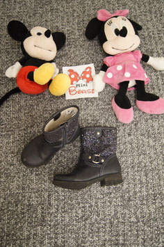 Stiefelchen Gr. 25, schwarze Stiefelchen mit Glitzer
