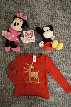 "langarm T-Shirt Gr. 110, rotes langarm T-Shirt ""Have e Jolly Christmas"" Mangel: Fleck am Ärmel"