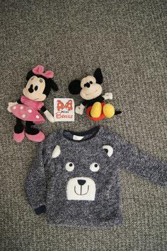 Pullover Gr. 110, grau-blauer Flauschi Pullover mit bären Gesicht