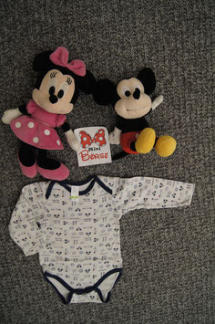 Body Gr. 80, weisser Body mit Mickey Mouse Symbolen, 3 Druckknöpfe unten