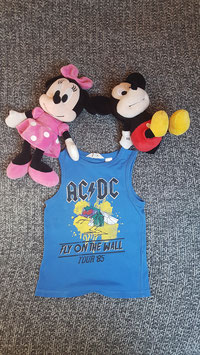 kurzes Oberteil, Gr. 86-92, blaues ACDC Shirt