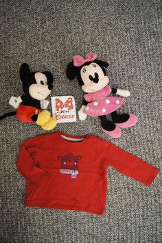 langarm T-Shirt Gr. 80, rotes langarm T-Shirt mit Bär, 2 Schulterdruckknöpfe