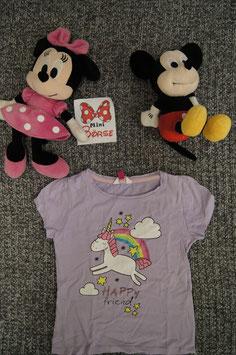 T-Shirt Gr. 122, hellviolettes T-Shirt mit Regenbogen und Einhorn