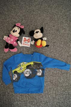 Pullover Gr. 110, blauer Pullover mit Monstertruck