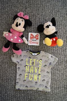 "T-Shirt Gr. 80, graues T-Shirt "" Lets Have Fun"" , 2 Schulterdruckknöpfe"