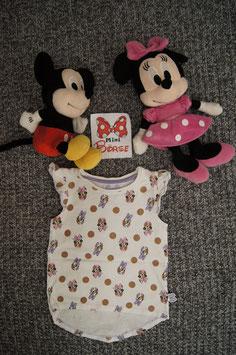 T-Shirt Gr. 92, weisses T-Shirt mit Minnie und Daisy,