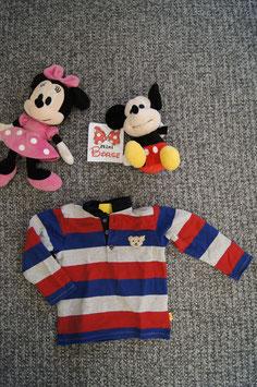 Pullover Gr. 86, dünner blau-grau-rot gestreifter Pullover. 3 Knöpfe vorne
