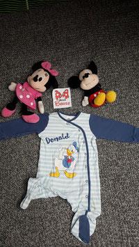 Strampler Gr. 86, weiss-blauer Strampler mit Donald Duck, Druckknöpfe bis zu einem Bein
