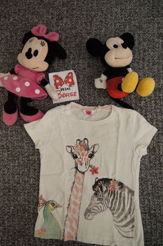 T-Shirt Gr. 128, weisses T-Shirt mit Giraffe und Zebra
