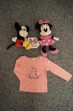 langarm T-Shirt Gr. 92, rosa T-Shirt mit Hase, 2 Schulterdruckknöpfe