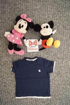 T-Shirt Gr. 80, blaues T-Shirt mit weissem Entchen, 3 Schulterdruckknöpfe